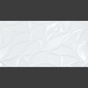 wall-super-white-shiny-leaves porcelain tiles