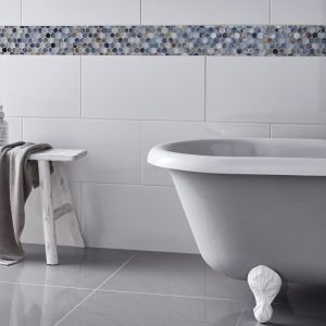 Virgin Super White High Gloss porcelain tiles london