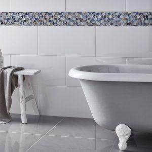 Virgin Super White High Gloss porcelain tiles london